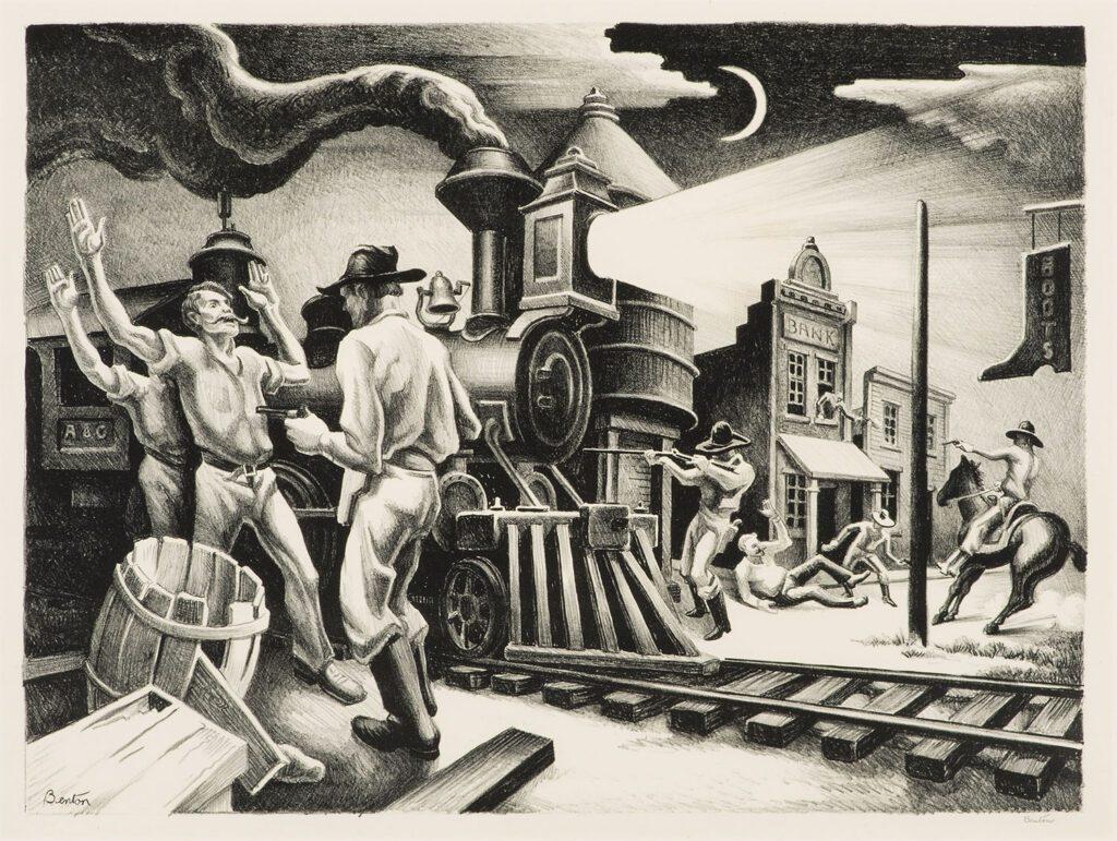 """""""Jesse James 1936"""" una delle tavole di Thomas Hart Benton dedicate al celebre fuorilegge"""